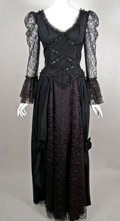 """SOLD 80s goth girl or medieval """"wench"""" costume--why choose?  This black moiré taffeta & lace 80s evening gown works for both!"""