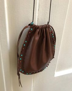 Leather Pouch Bag Pouch Bag Hand Beaded Pouch Bag One Of A