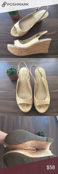 Via Spiga tan and gold fish scale cork wedges Gently worn a few times. Via Spiga Shoes Wedges