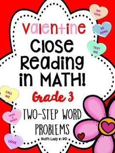 Ever wish your students would read two step word problems multiple times to understand and solve the problem? This collection of 10 common core story structure mixed operation two step Valentine's Day word problems are on a graphic organizer that uses close reading strategies.