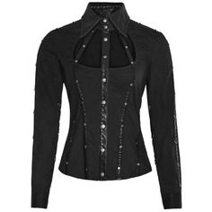 Control Freak Black Gothic Blouse by Punk Rave ($92) ❤ liked on Polyvore featuring tops, blouses, gothic tops, gothic blouse, studded top, studded blouse and punk tops