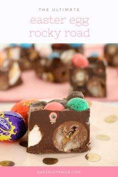 This Easy Easter Rocky Road is filled with marshmallow eggs, mini Cadbury creme eggs, crispy M&M speckled eggs and raspberry lollies! #easter #rocky #road #chocolate #thermomix #conventional #easy #recipe #m&ms #speckledeggs #eastereggs #eggs#marshmallo