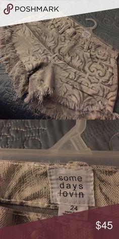 Semi High Waist Denim Frayed Printed Shorts Brand new . Somedays Lovin Shorts Jean Shorts
