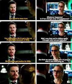 """""""You could've been hurt. You risked your life to get a line on Prometheus because of Billy. We're gonna get justice for Billy"""" - Oliver and Felicity #Arrow"""