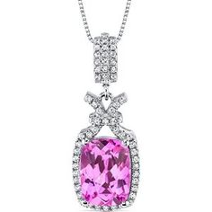5.00 Carats Created Pink Sapphire Pendant Necklace Sterling Silver Cushion Cut available at joyfulcrown.com