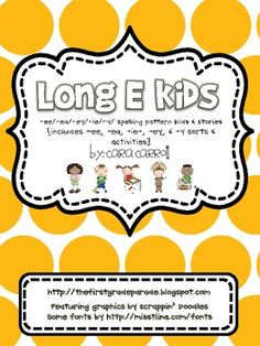 This Long E Kids packet is perfect for teaching long a spelling patterns {ee, ea, ey, ie,