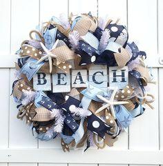 Beach Wreath Beach Wreath for Front Door Beach Burlap Wreath Coastal Wreath Beachy Wreath Coast Summer Door Wreaths, Easter Wreaths, Wreaths For Front Door, Beach Wreaths, Holiday Wreaths, Spring Wreaths, Front Porch, Coastal Wreath, Nautical Wreath