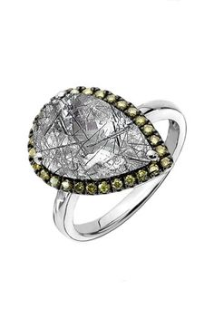 Whitney Stern Black Rutilated Quartz Diamond Pear Tilted Ring