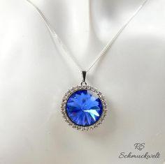 Kristall Anhänger, Halskette Silber, blauer Anhänger, Halo Anhänger, blauer Kristall, großer Anhänger, Geschenk, Muttertag, Geburtstag, von RSSchmuckwelt auf Etsy