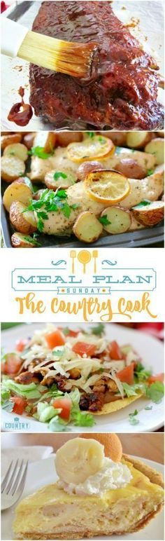 Meal Plan Sundays recipes include: One Pan Chicken and Potatoes, Tex-Mex Tostadas, Crockpot BBQ Ribs, Hamburger Steaks, Chicken Teriyaki, Banana Pudding Cheesecake and more!