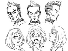 Total Drama Series - sketchy head-shots by Warse-no-Miko