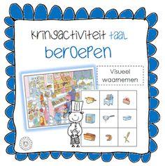 Taalactiviteit visueel waarnemen | Thema BEROEPEN Preschool Lessons, Preschool Learning, Math Lessons, School Themes, Primary School, Spelling, Kindergarten, Language, Bullet Journal
