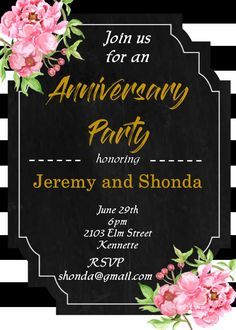 Peonies and striped Retirement Party Invitations Anniversary Party Invitations, Retirement Party Invitations, Retirement Parties, Anniversary Parties, Black White Parties, Black And White, 2020 Design, Peonies, Rsvp