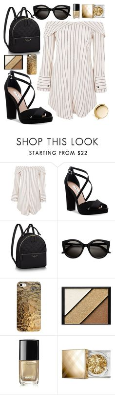 """Gold"" by lauraleeanne ❤ liked on Polyvore featuring Topshop, Nina, Elizabeth Arden, Chanel, Burberry and Estée Lauder"