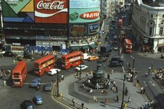 London buses beneath the advertising hoardings at the famous interchange Piccadilly Circus London Today, London Bus, Old London, London Life, London Street, Vintage London, London History, Piccadilly Circus, Double Decker Bus