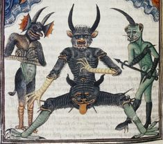 Devils waiting for the Last Judgement Livre de la Vigne nostre Seigneur, France ca. 1450-1470 (Bodleian Library, MS. Douce 134, fol. 67v )