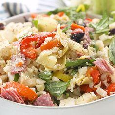 Keto Antipasto Cauliflower Rice Salad - Top Of The World Cauliflower Rice Salad, Cauliflower Recipes, Paleo Recipes, Cooking Recipes, Rice Salad Recipes, Paleo Meals, Cooking Tips, Comida Keto, Clean Eating