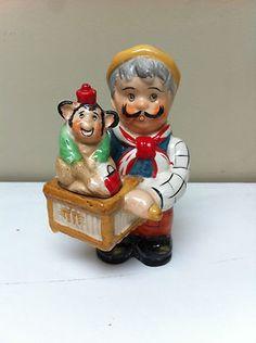 Vintage Man With Monkey Salt And Pepper Shaker Set Ebay Items