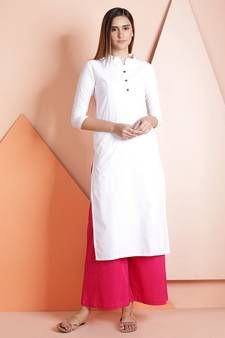 69b2c0b0a7 Buy White plain cotton stitched kurti kurtas-and-kurtis online ...