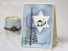 christmas card nativity stamp, woodware christmas tree