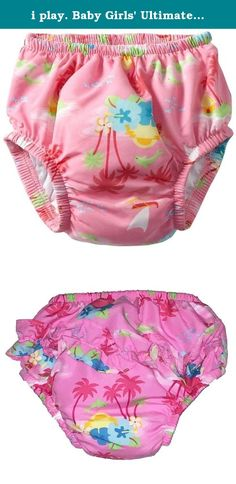Imse Vimse Reusable Swim Diaper for Baby and Toddler Girls with Ruffle and Snaps Pink Sea Life, M 15-22 lbs