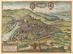 Old map of Namur, Belgium