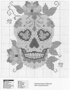 Thrilling Designing Your Own Cross Stitch Embroidery Patterns Ideas. Exhilarating Designing Your Own Cross Stitch Embroidery Patterns Ideas. Cross Stitch Skull, Cross Stitch Tattoo, Cross Stitch Alphabet, Cross Stitch Charts, Cross Stitch Designs, Cross Stitching, Cross Stitch Embroidery, Blackwork, Crochet Skull