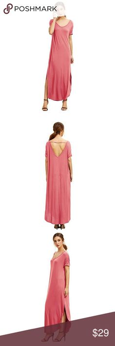 Casual Loose Dress w/ Short Sleeves & pockets NWOT.  Medium: Bust: 53.1 inch, Length: 52.0 inch? Color: bubblegum pink  Rayon and Spandex material, the dress is very loose, oversized Dresses Maxi