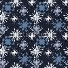 Wintry Snowflakes Pattern Design by Oleksii Kolchak-Terentiev at patterndesigns.com Vector Pattern, Pattern Design, Snowflake Pattern, Surface Design, Snowflakes, Patterns, Winter, Block Prints, Winter Time