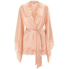 063fc104f3 Peach short kimono robe in stretch silk satin and Leavers lace -