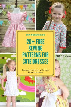 More than 20 FREE sewing patterns for the prettiest girls dresses to sew. Free dress patterns for babies, toddlers, girls and teens. Little Girl Dress Patterns, Kids Dress Patterns, Easy Patterns, Clothes Patterns, Baby Dress Pattern Free, Modern Patterns, Pants Pattern, Toddler Sewing Patterns, Baby Sewing