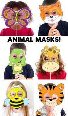 Papiermaske - I love Animal :) Paper Plate Animal Masks, Animal Masks For Kids, Animal Activities For Kids, Paper Animals, Animals For Kids, Mask For Kids, Masks Kids, Fox M, Printable Animal Masks