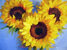 Nel's Everyday Painting: Sunflowers on Blue - SOLD