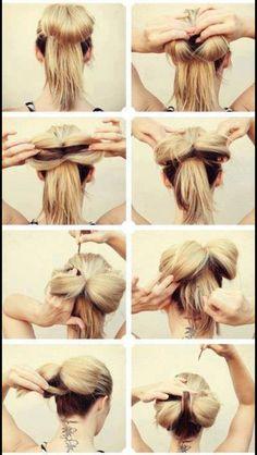 Hair bow bun so cute! Top Hairstyles, Pretty Hairstyles, Simple Hairstyles, Updo Hairstyle, Style Hairstyle, Wedding Hairstyles, Amazing Hairstyles, Latest Hairstyles, Big Hair Bows