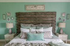 Mint bedroom, love love love! Not sure about the driftwood headboard though...