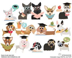 School dogs Digital clip art for Personal and Commercial use - INSTANT DOWNLOAD