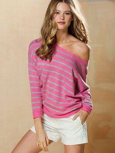 Off-the-shoulder Cashmere Sweater & Stretch Cotton Short - Victoria's Secret