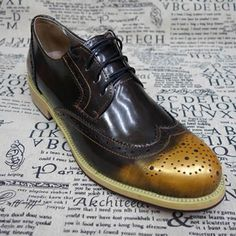 Men Gold Brown Patent Leather Lace Up Wedding Prom Dress Brock Shoes SKU-1100505