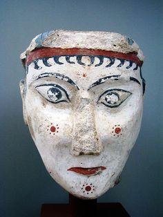 ✮ Painted stucco head (limestone). c.1300 BC.
