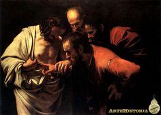Incredulidad de Santo Tomás, 1602-1603. Enfoque aproximativo, cuatro cabezas se enlazan en miradas, gestos y palabras mudas creando una elipse abierta. Cristo lleva la mano de Tomás al costado