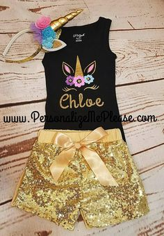 The cutest Unicorn Birthday set Ever! The black racerback tank top is so cute match the gold sequin shorts. COMPLETE 3 Piece Set (as pictured) Includes: 1 Black Tank Top 1 Gold Sequin Shorts 1 Gold unicorn Headband Unicorn Outfit, Unicorn Headband, Beautiful Unicorn, Cute Unicorn, Unicorn Birthday Parties, Girl Birthday, Gold Sequin Shorts, Black Tank Tops, Trending Outfits