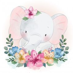 Cute little elephant with floral portrait - Buy this stock vector and explore similar vectors at Adobe Stock Cute Animal Drawings Kawaii, Cute Drawings, Little Elephant, Elephant Love, Cute Images, Cute Pictures, Composition Photo, Watercolor Animals, Flower Watercolor
