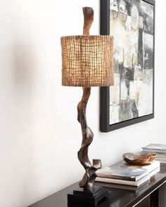 """Driftwood"""" Table Lamp  Enjoy your natural look. Table lamp of wonderfully irregular wood is topped with a drum shade of open-weave natural twine for a wholly organic look. Minimalist black base merges perfectly with your modern decor. Lamp uses one 100-watt bulb. 12""""Dia. x 41""""T; shade is 10""""T. Imported."""