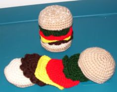 Tons and tons of crochet food patterns pic:Following Him at Home » Blog Archive » Crochet Cheeseburger Pattern