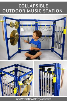 Outdoor music station with 3D printed hinges which allow it to be collapsed flat for storage! Outdoor Playground - Music Wall - Sensory Wall - Montessori Toys - Waldorf Wood: Xylophones, Triangles, Cymbal, and Cowbells