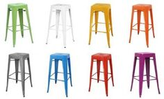 Detroit Lacquered Industrial Metal Bar Stools - available in a range of colours; Green, White, Yellow, Orange, Grey, Blue, Red and Purple #industrial #style #stool