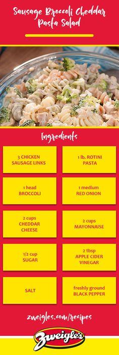 Sausage Broccoli Cheddar Pasta Salad Recipe  www.zweigles.com facebook.com/zweigles  #zweigles #Recipe #pastasalad Chicken Sausage Recipes, Sausage Pasta, Pasta Salad Ingredients, Pasta Salad Recipes, Broccoli Pasta, Broccoli Cheddar, Specialty Meats, Spinach And Feta, How To Cook Pasta
