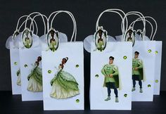 INSPIRED 12pc Disney 6pc princess and the Frog Tiana  6pc prince Aveen Birthday Party Favor Goody Gift 3D Bags hand made