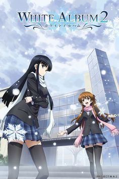 """White Album 2. It's a love triangle between Haruki and two girls Touma and Setsuna. They form a band in their keion club at school and sing """"White Album"""" at the school festival. The show mostly details their road there and the budding romance between the Haruki and the ladies taken from different points of view over the series. I have to admit, I liked Touma even though she's way to melodramatic."""