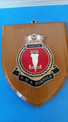 HMS Norfolk Crest Shield Plaque Porsche Logo, Norfolk, Display, Vehicles, Floor Space, Billboard, Cars, Vehicle